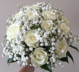 baby's breath and white rose bridal bouquet