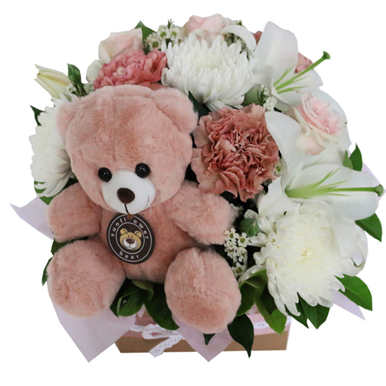 Baby Girl Flowers in a Box with Pink Toy for Gold Coast Delivery.