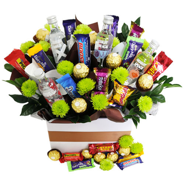 Absolut Vodka with cadbury favorites and ferrero rocher chocolates and flowers