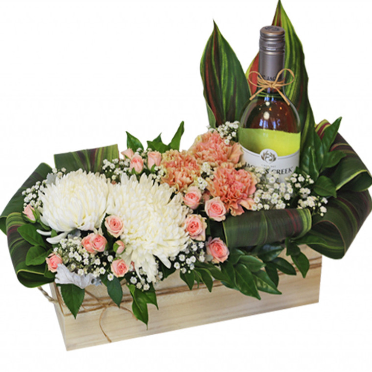 Ally - Pastel arrangement of flowers and Australian Wine