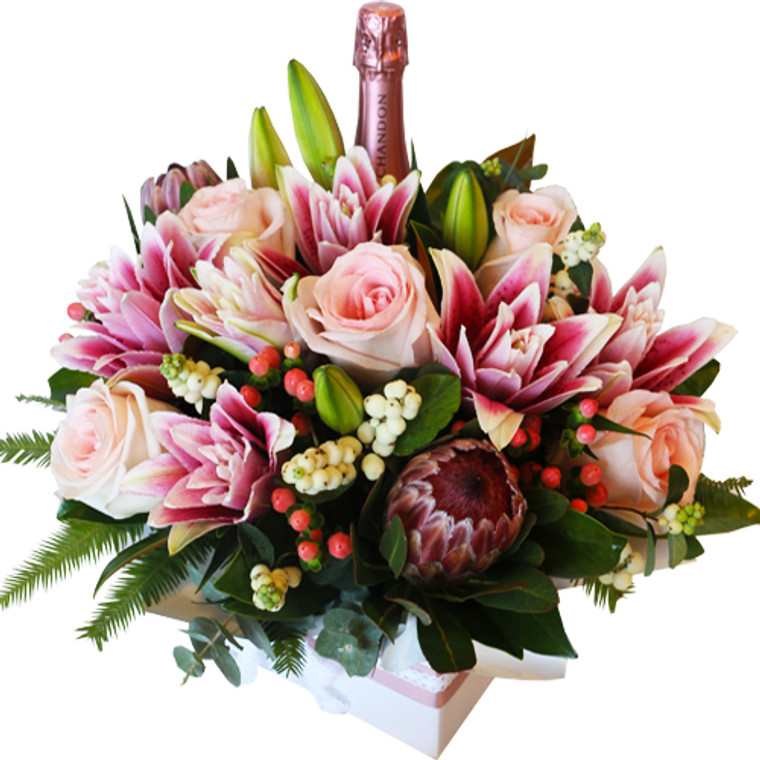 Chandon Rosé in beautiful flower box - Botanique Flowers and Gifts