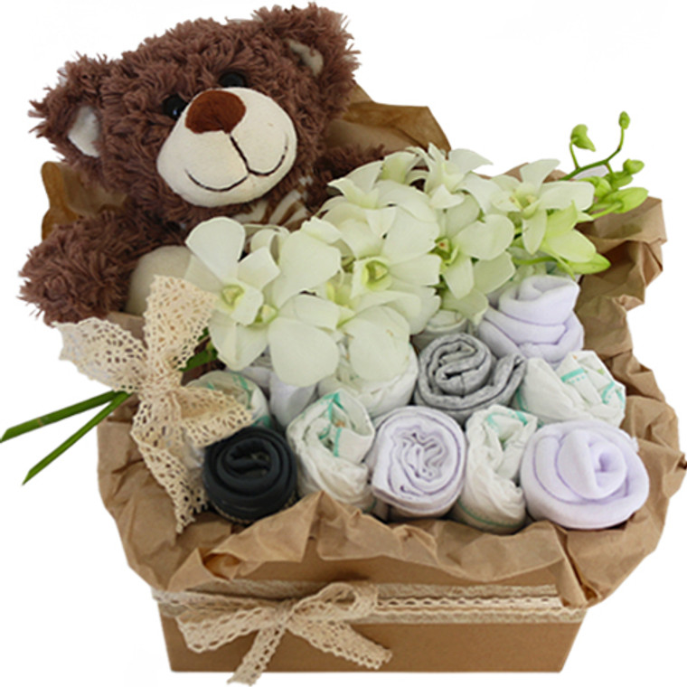 Hamish New baby hamper with teddy, flowers and baby goods