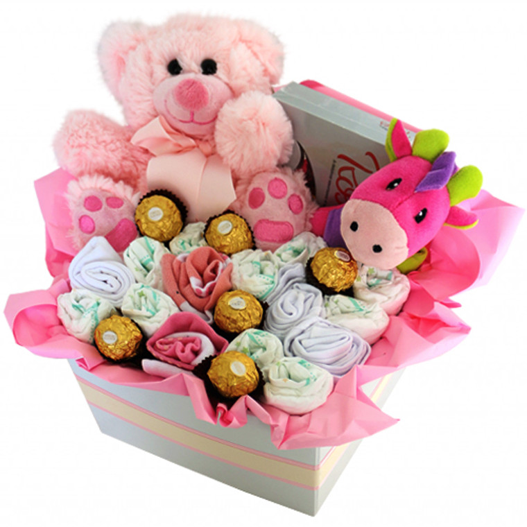 Hammy Pink hamper with nappies, chocolates, and baby goods