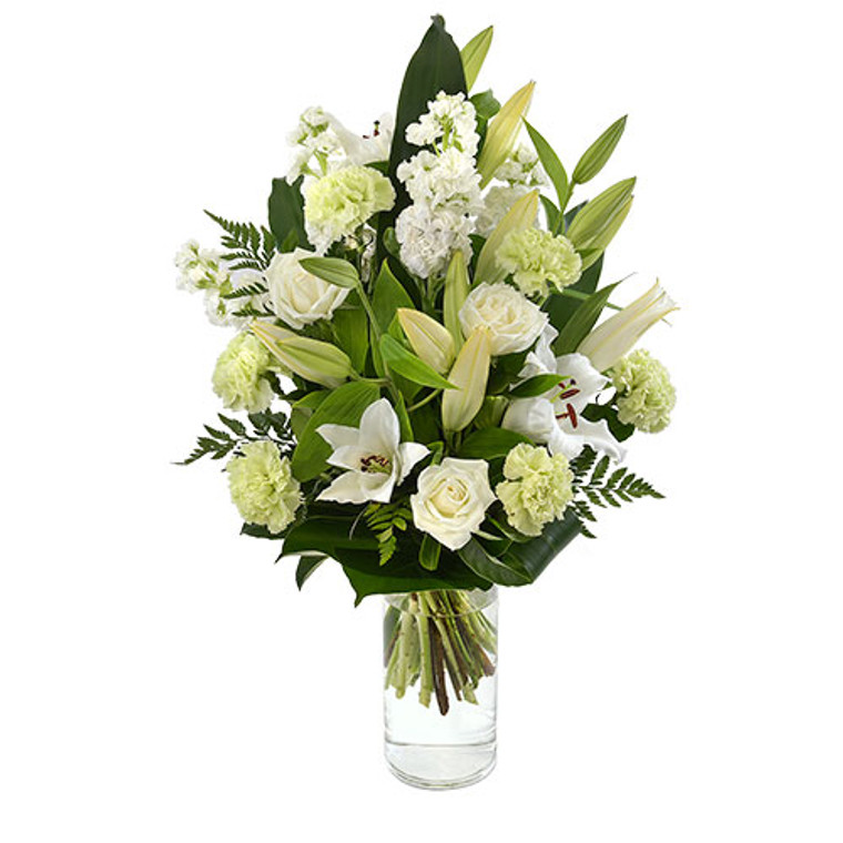 Cloud - lilies, roses, carnations, stock bouquet in glass vase