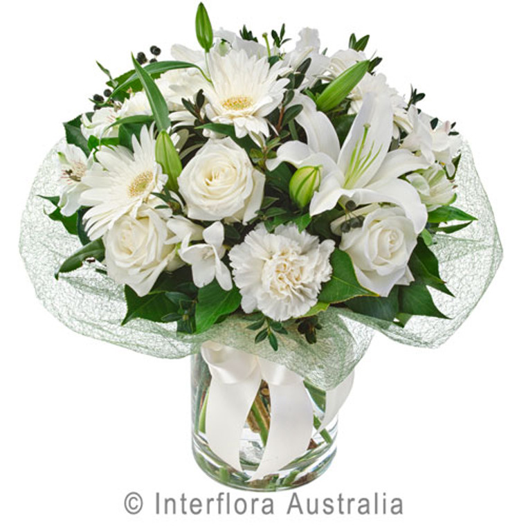 White flower bunch of lilies and roses.
