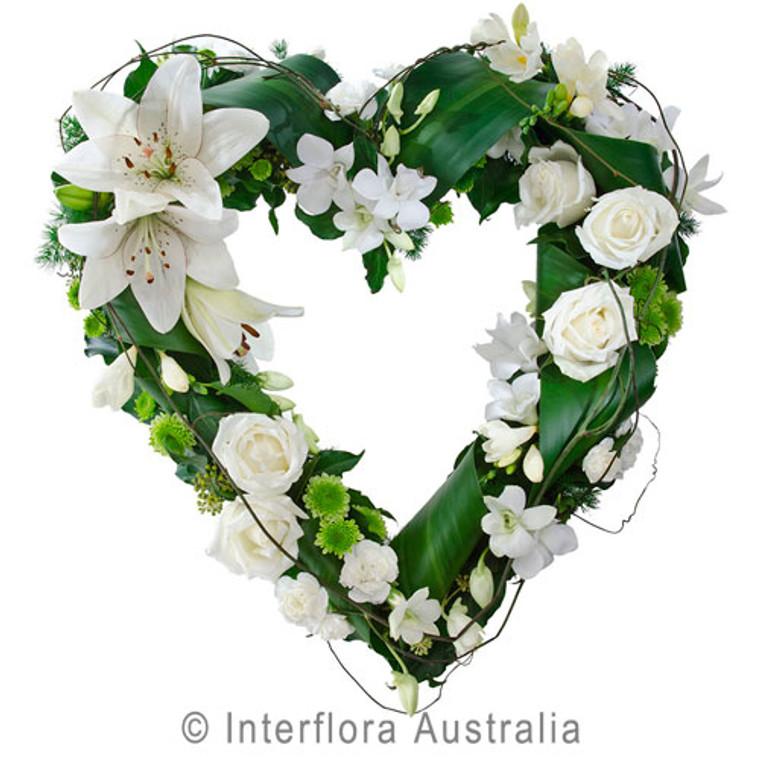 White Funeral Heart Wreath Australia