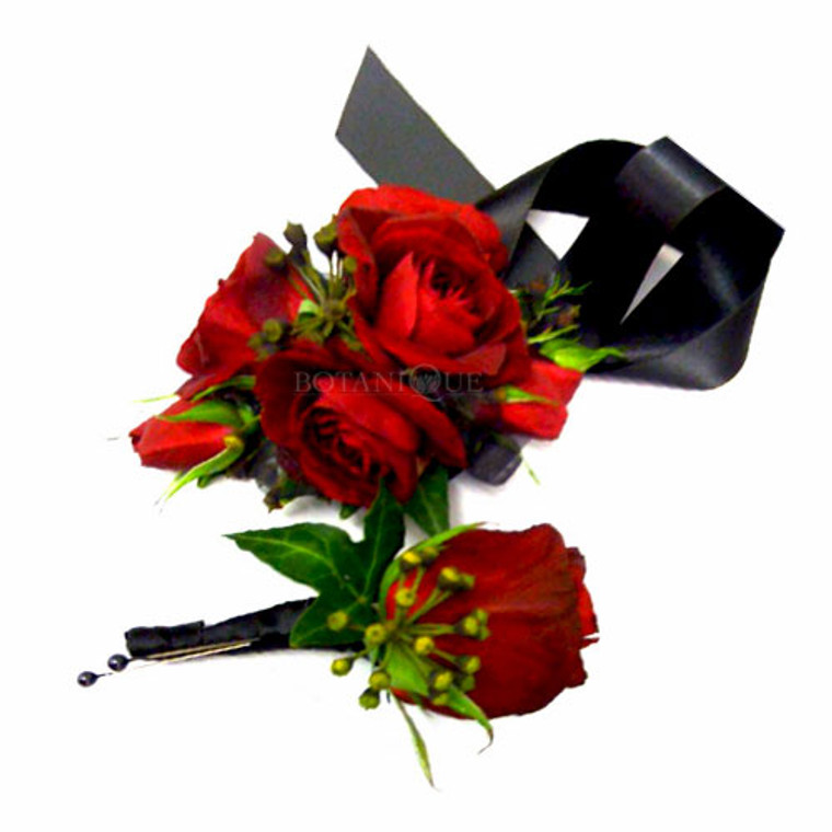 Red corsage buttonhole package