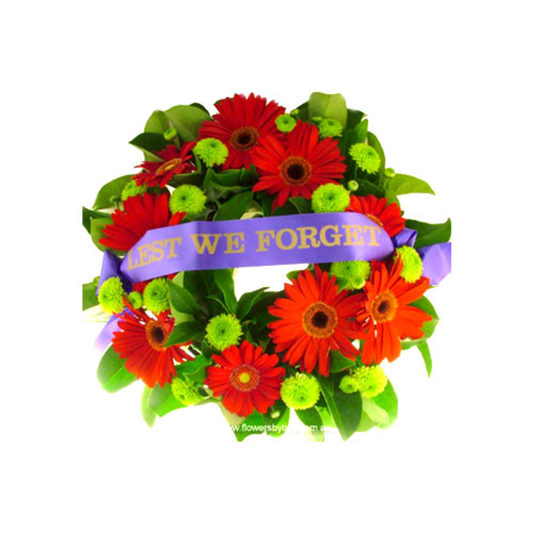 Standard 30cm across with LEST WE FORGET ribbon