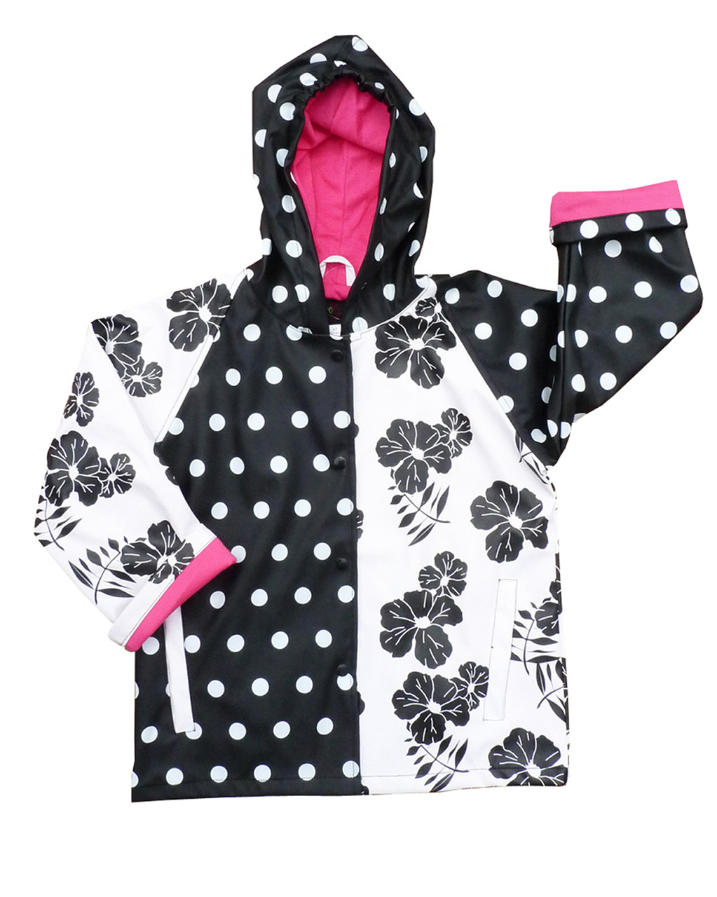 120f710ce1345 Black and White Delight Raincoat from Foxfire for Kids