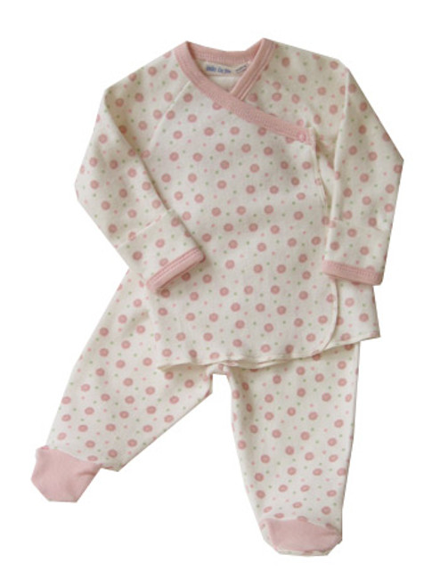 Under the Nile:  Organic Pink Dots Side Snap Layette Set