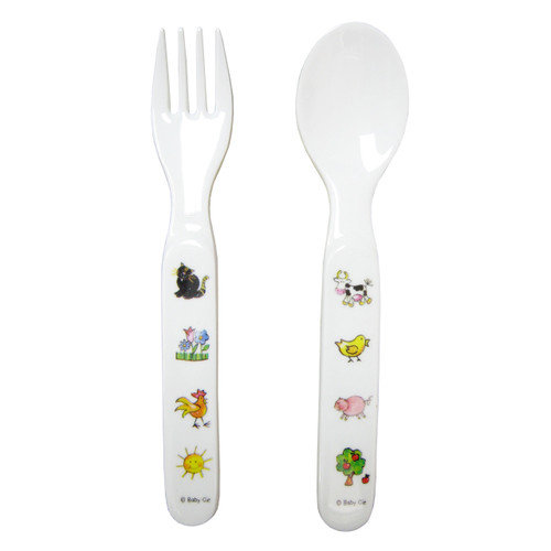 Baby Cie:  Farm Animals Fork & Spoon Set