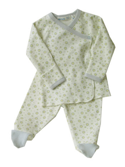 Under the Nile: Organic Sage/Blue Dots Side Snap Layette Set