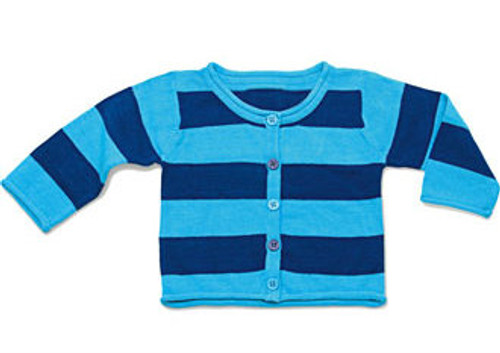 Happy Green Bee:  Blue Stripe Knit Cardigan