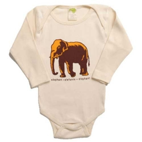 Kiwi:  Elephant Organic Onesie, Short or Long Sleeve