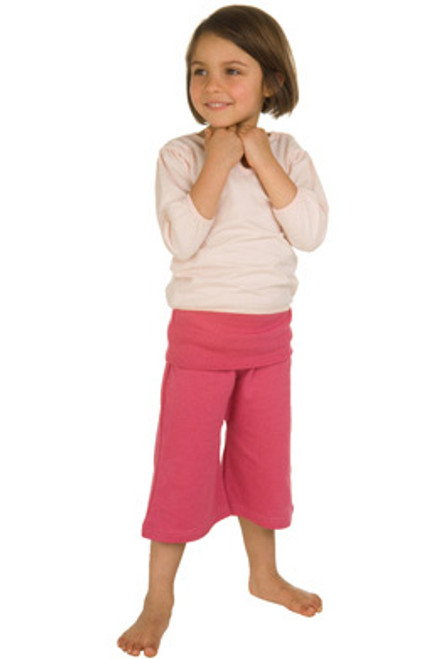 Kate Quinn Organics:  Cropped Rollover Pants in Hibiscus