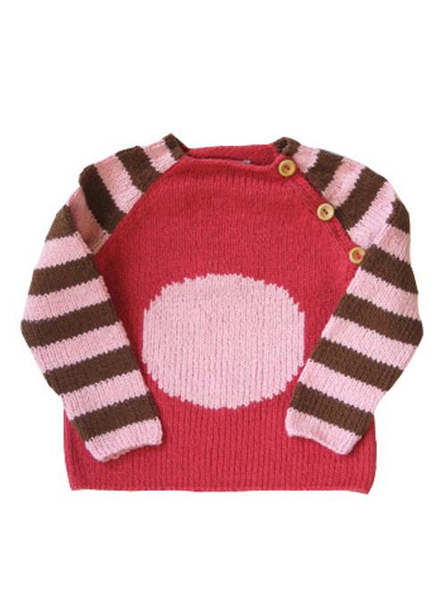 Kiwi:  Organic Pink & Cocoa Circle Sweater