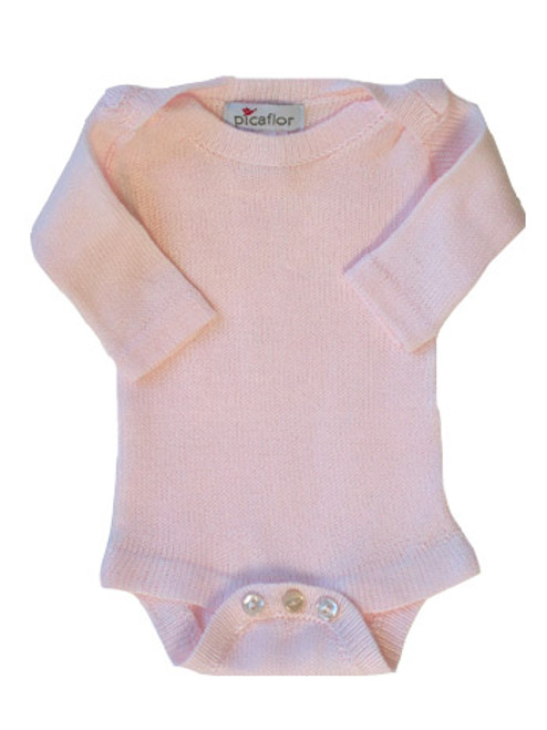 Picaflor:  Knitted Long Sleeve Onesie in Pink