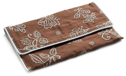 Pineapple Cove Diaper Wallet in Chocolate with Blue Embroidery