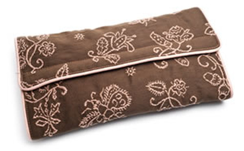 Pineapple Cove Infant Change Pad in Chocolate with Pink Embroidery