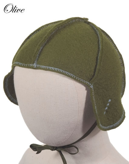 Little Deer: Pilot Cap in Olive Green