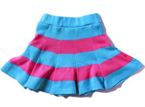 Happy Green Bee:  Knit Skort in Pink and Sky Blue