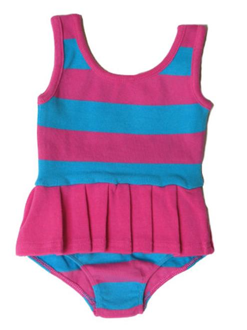 Happy Green Bee:  Swim & Sport Suit in Pink & Sky