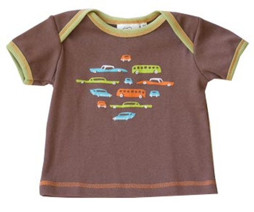 Cloud Mine: Retro Cars Brown Tee