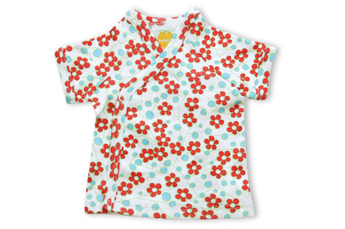 Kumquat - Red Blossoms Short Sleeve Kimono Top