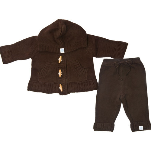 Beba Bean:  Knit Hoodie & Pant Set in Cocoa