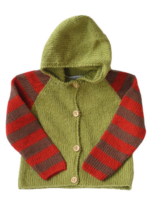 Kiwi:  Hand Knit Cardigan in Olive & Red front