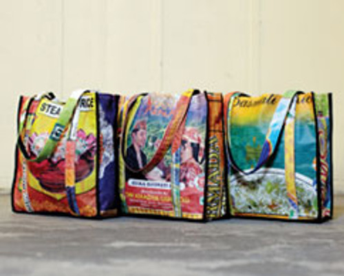 Upcycled Rice Bags:  Medium Tote