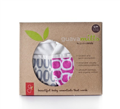 GuavaMitts 2 pack, hopscotch (gray) & bubbles (berry)