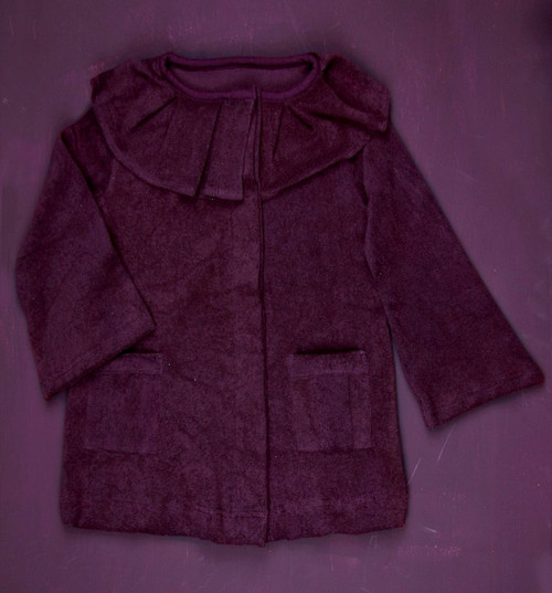 Kate Quinn Organics:  Pleated Ruffle Jacket in Grape