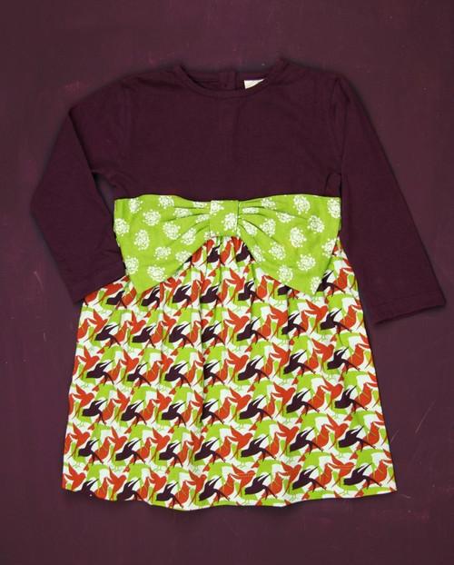 Kate Quinn Organics:  LS Bow Dress in Bird Print