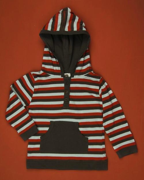 Kate Quinn Organics:  Henley Tri-Stripe Hoodie