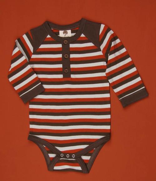 Kate Quinn Organics:  Henley Tri-Stripe Bodysuit