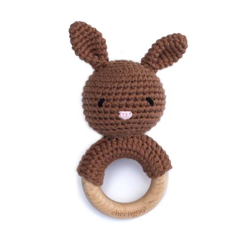 Mocha Bunny Rattle Teether from Cheengo