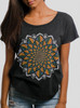 Bloom - Multicolor on Heather Black Triblend Womens Dolman T Shirt