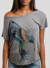 Hummingbird - Multicolor on Heather Grey Triblend Womens Dolman T Shirt