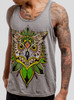 Owl - Multicolor on Heather Grey Triblend Mens Tank Top