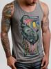 Flamingo - Multicolor on Heather Grey Triblend Mens Tank Top