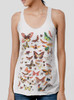 Bugs - Multicolor on White Triblend Womens Racerback Tank Top