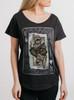 King - Multicolor on Heather Black Triblend Womens Dolman T Shirt