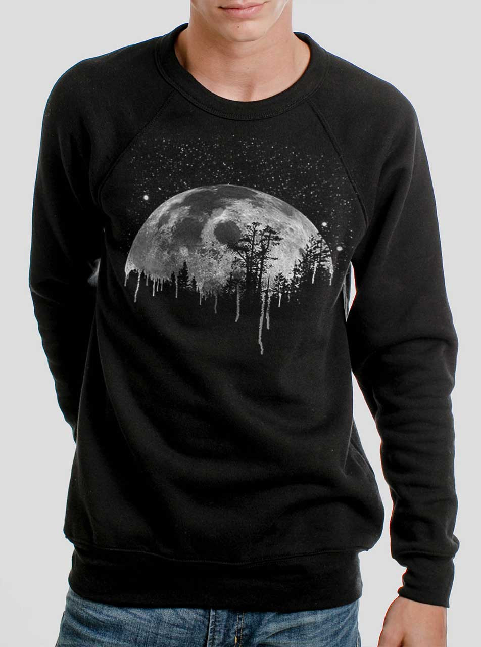 813353fea Moon - White on Black Men's Sweatshirt - Curbside Clothing
