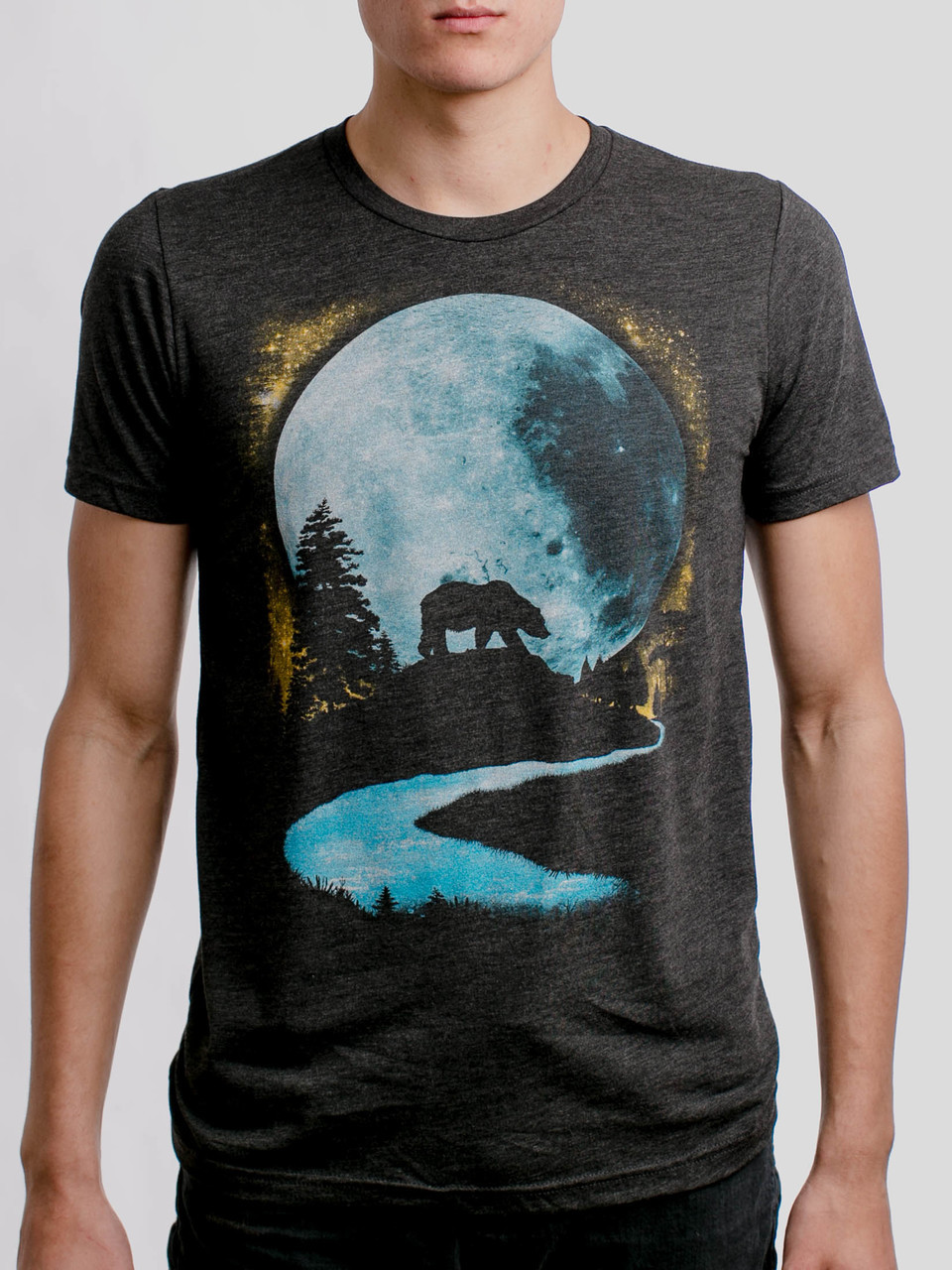 d992c24ab Bear Moon - Multicolor on Heather Black Triblend Mens T Shirt - Curbside  Clothing