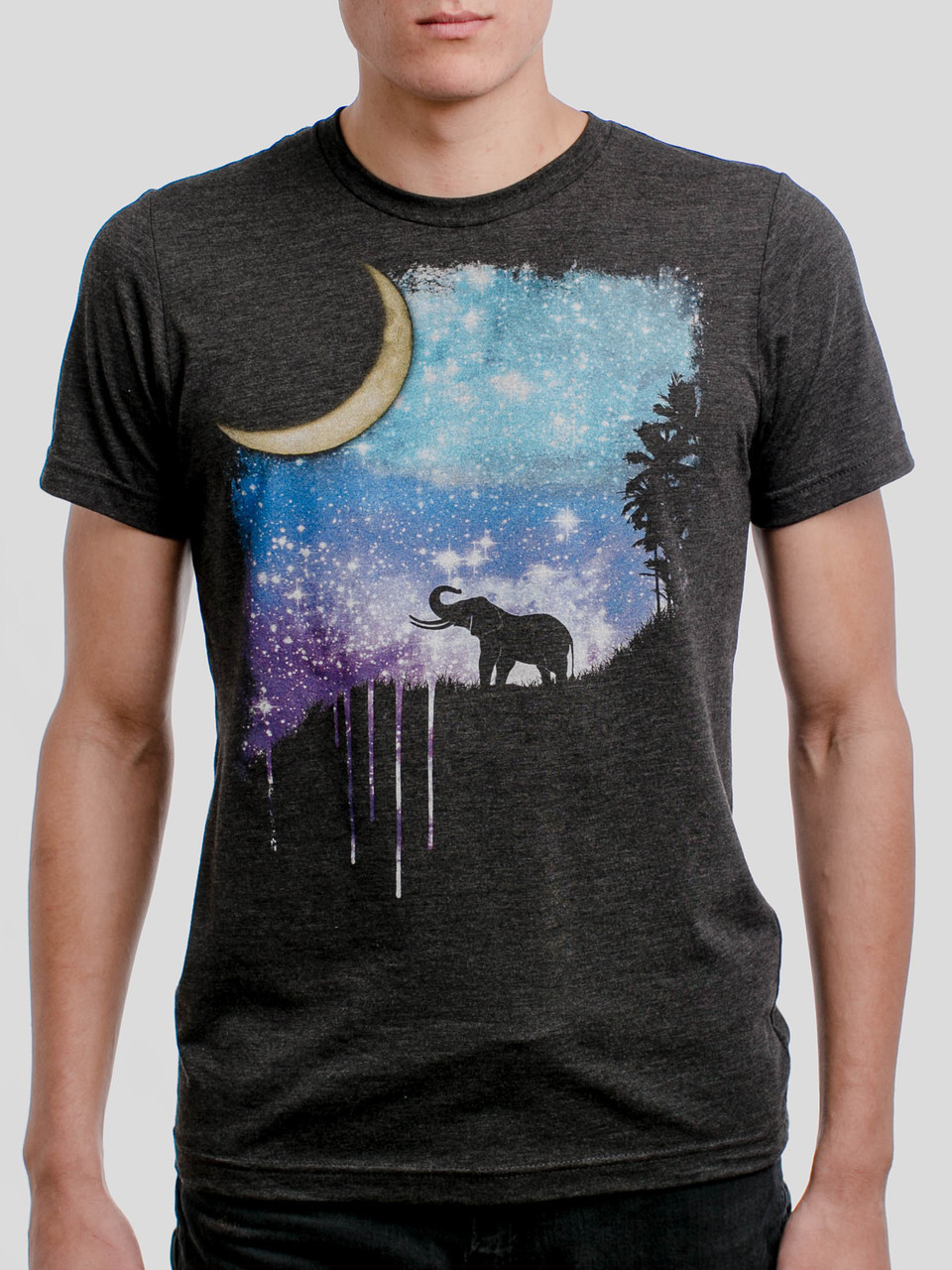 ce56c9ad3 Elephant Moon - Multicolor on Heather Black Triblend Mens T Shirt - Curbside  Clothing