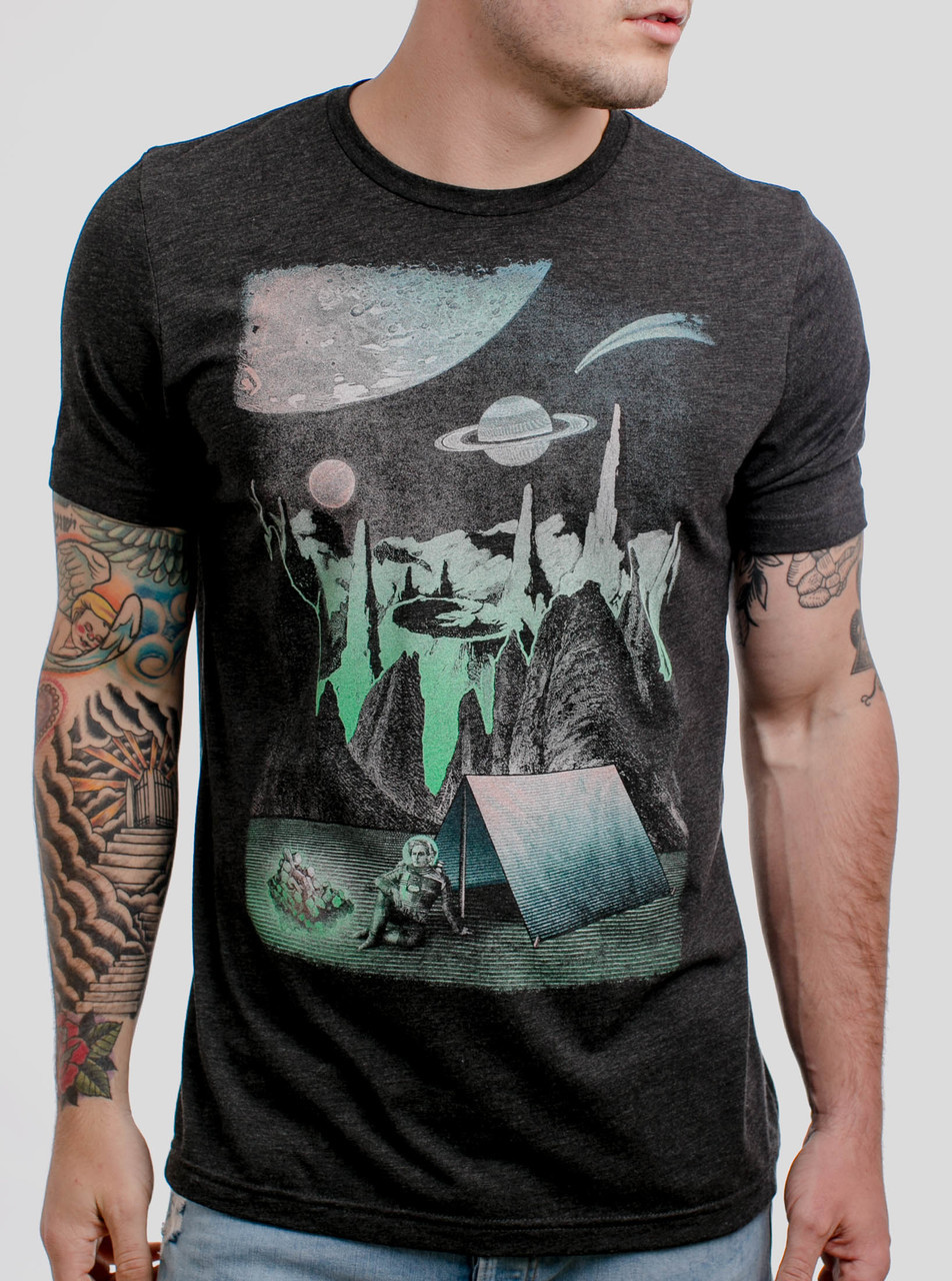 4685d1fe Space Camp - Multicolor on Heather Black Triblend Mens T Shirt - Curbside  Clothing