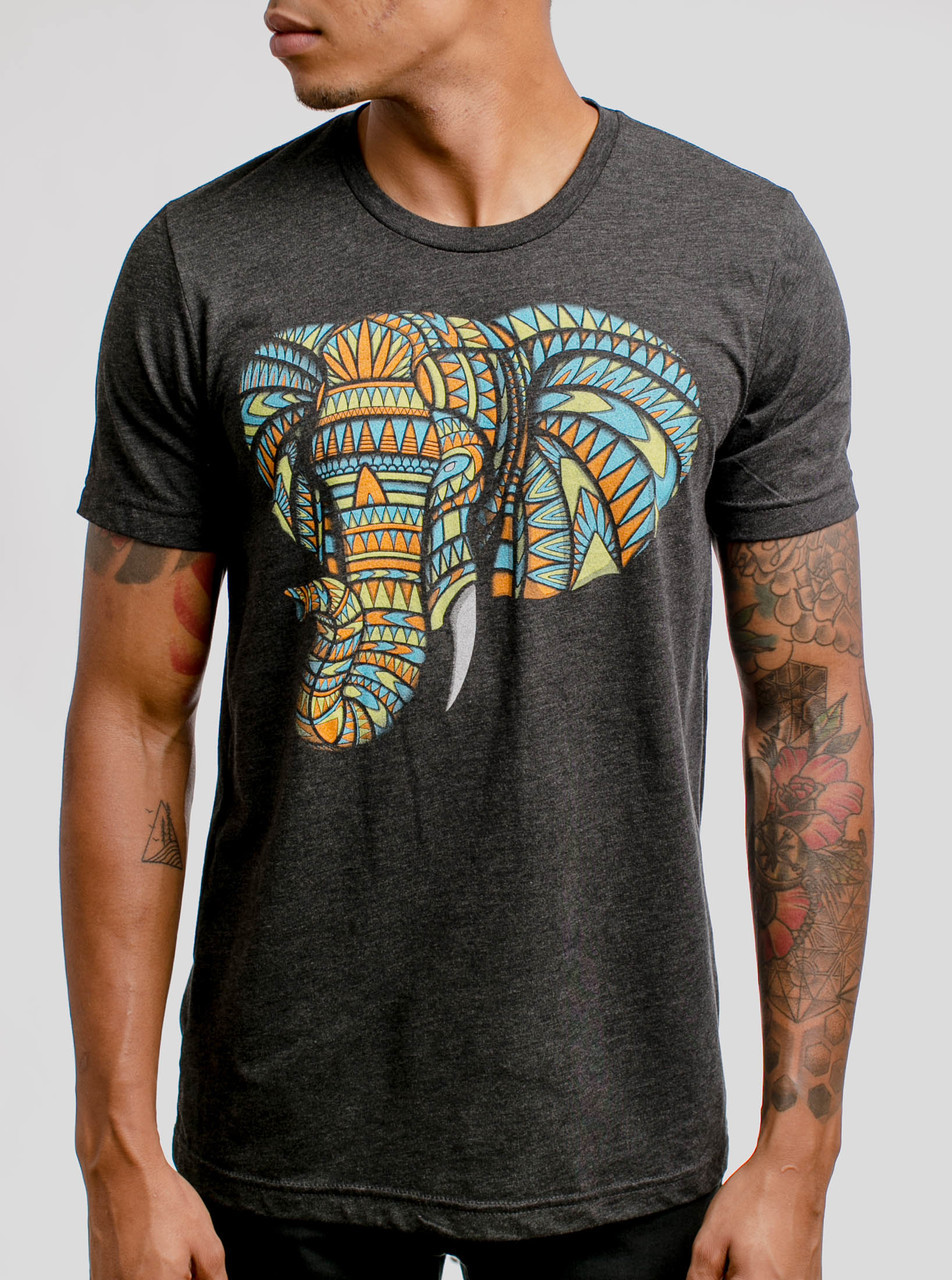4be2eb045 Elephant - Multicolor on Heather Black Triblend Mens T Shirt - Curbside  Clothing