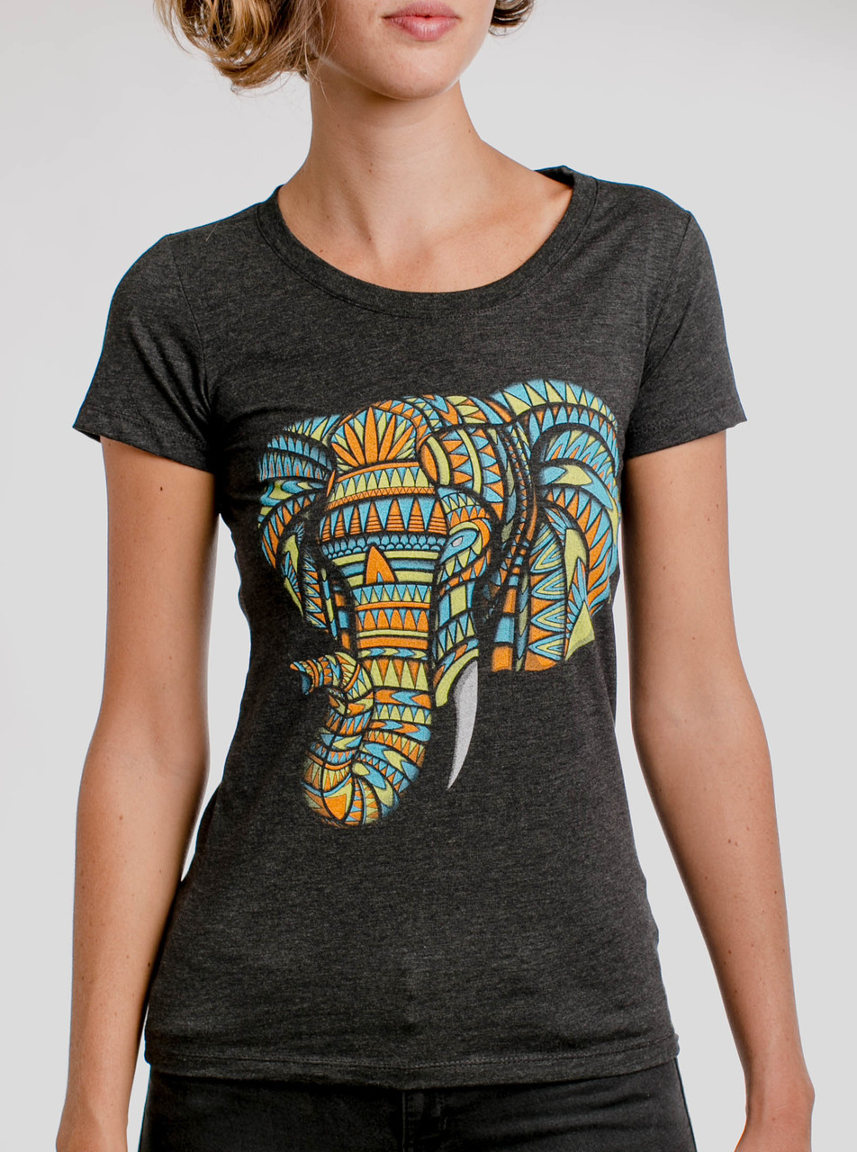 133991320 Elephant - Multicolor on Heather Black Triblend Womens T-Shirt - Curbside  Clothing