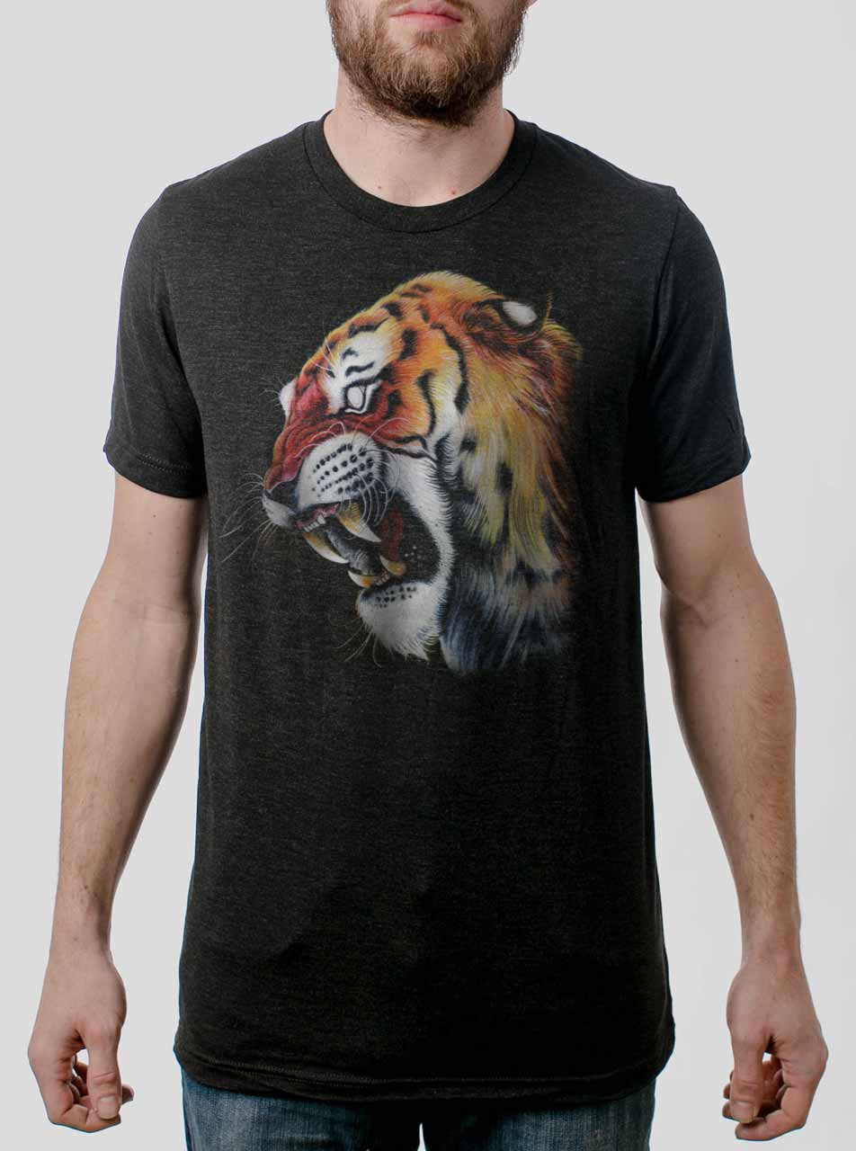 5e5f541a9 Tiger's Head - Multicolor on Heather Black Triblend Mens T Shirt ...